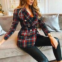 Red Plaid Blazer 2019 Women Spring Autumn Vintage Tweed Suits Jackets Office Ladies Chic Slim Blazers Girls Tassel Tops Set Coat