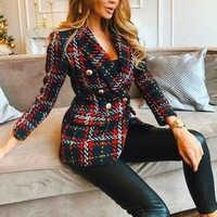 Rouge Plaid Blazer 2019 femmes printemps-automne Vintage Tweed costumes vestes bureau dames Chic Slim Blazers filles hauts à pompon ensemble manteau