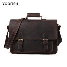 купить YOOFISH Hot selling Classic Vintage Genuine Leatherr Men Brown/Coffee Handbag Shoulder bag Crossbody bag Free Shipping XZ-052 недорого
