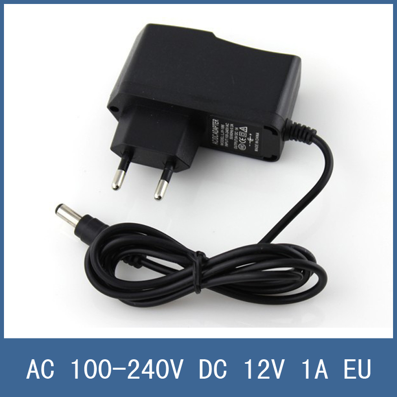 High Quality AC 100-240V DC 12V 1A EU Plug Power Charger Adapter for CCTV Camera , 2.1mm * 5.5mm Male , Free Shipping eu plug 19v 1 7a ac power adapter wall charger for lg ads 40fsg 19 19032gpg 1 eay62790006