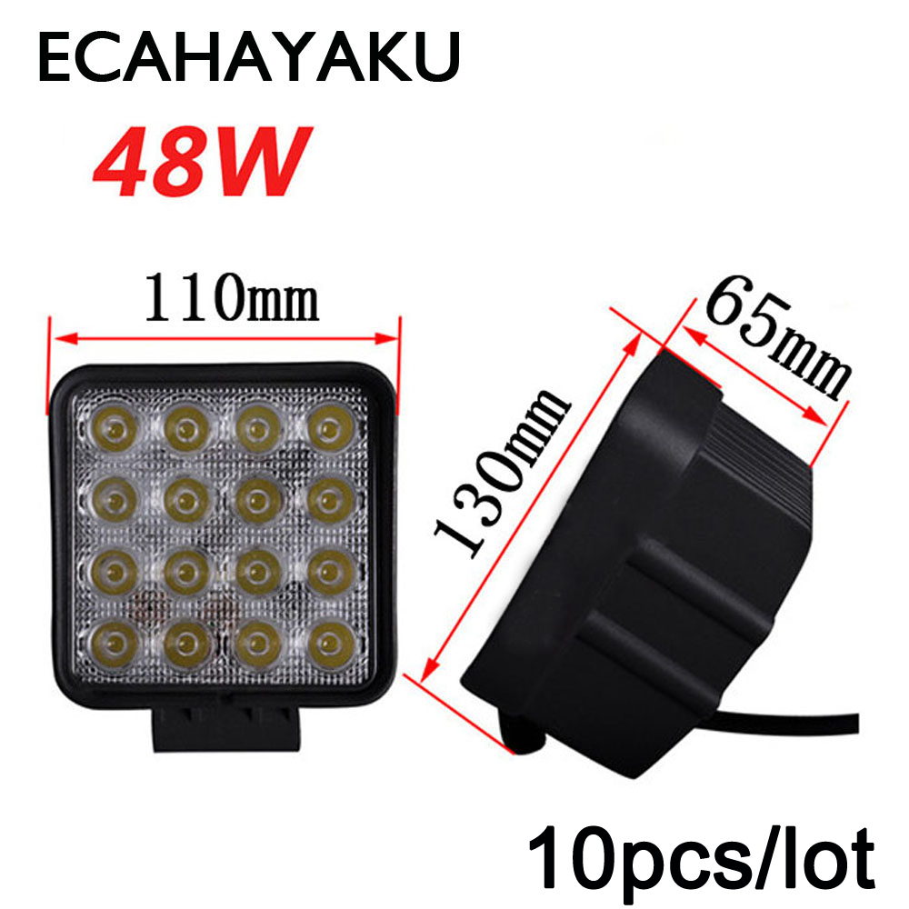 10PCS/Lot 48W Car Spot Worklight Head Lamp Truck Motorcycle Off Road Led Lamp Tractor Car LED Headlight Work Lights Square 12V