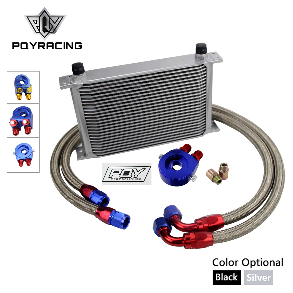 UNIVERSAL OIL COOLER 25 ROWS AN10 ENGINE TRANSMISS OIL COOLER KIT + FILTER RELOCATION WITH PQY STICKER AND BOX