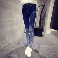 New 2017 Fashion Color Blocked Worn Out Jeans Women Slim Fit Denim Pencil Pants Women Mom