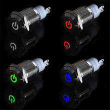 Original Nice   12V 16mm LED Power Push Button Switch Silver Aluminum Metal Latching Type Sep 30