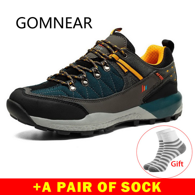 GOMNEAR Men's Trekking Hiking Shoes Leather Breathable Climbing Shoes Camping Hunting Outdoor Shoes Hiking Sneakers Sports Man