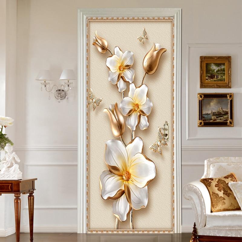European Style 3D Stereo Relief Flowers Photo Wall Mural Door Sticker Living Room Bedroom PVC Self-Adhesive Waterproof Wallpaper