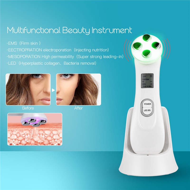 Multifunctional EMS Electroporation Beauty Instrument Facial Skin Care Cleaning RF Radio Frequency LED Lights Beauty Device 43 kingdom kd 9900 ems rf electroporation beauty device