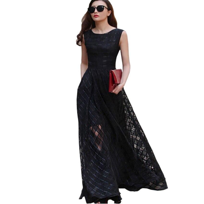 606b7220087d 2016 New Women Summer Dress Elegant Ladies Vintage Black Organza Sleeveless  Long Beach Maxi Dress Sundress Vestidos Femininos-in Dresses from Women's  ...