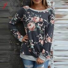 FEITONG Womens Sweatshir Casual Floral Splicing O-Neck Shirt Blusa Sweatshirt Long Sleeve Tops New Autumn Winter Female Pullover