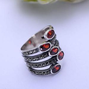 Image 5 - GQTORCH Natürliche Edelstein Breite Ringe Für Frauen Rot Granat Stein Echt Reine 925 Sterling Silber Schmuck Markasit Multi Schicht Ring