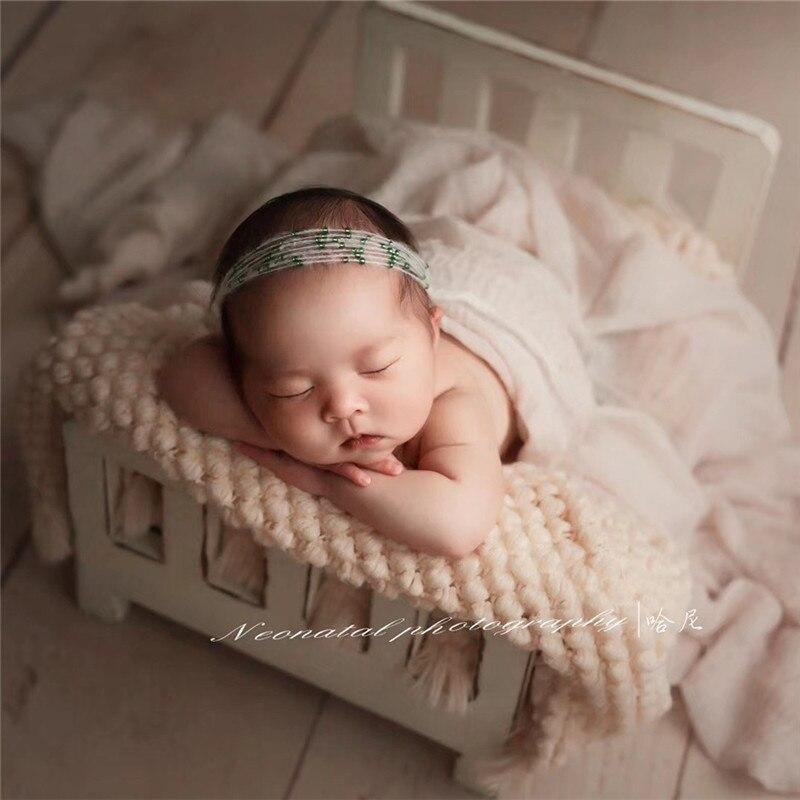 Nouveau-né accessoires pour la photographie bois amovible lit bébé photographie arrière-plan accessoires Flokati nouveau-né Studio accessoires pour tournage - 2