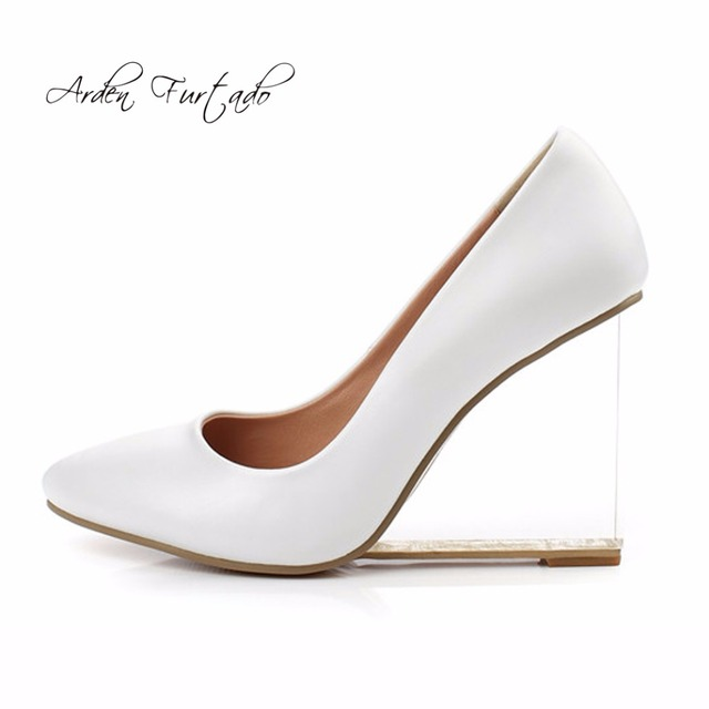 4aca6039b9c1 Fashion 2017 spring autumn genuine leather slip on woman shoes clear  crystal heels high heels wedges pumps white wedding shoes