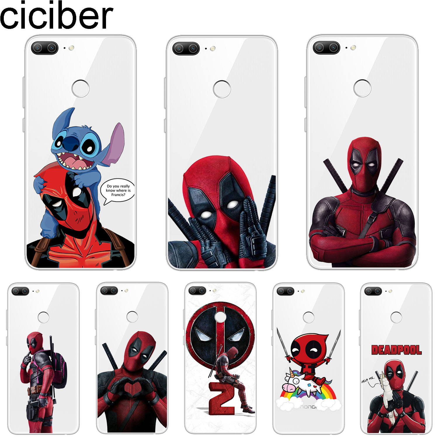 ciciber Cover For Honor 9 10 Lite 7A 8X 8C Pro Lite Play V10 Phone Cases Marvel Deadpool Shell Capa Fundas Soft Silicone TPU image