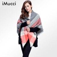 IMucci 캐시미어 디자인 삼각형 스카프 격자 무늬 패션 따뜻한 겨울 숄 파시미나