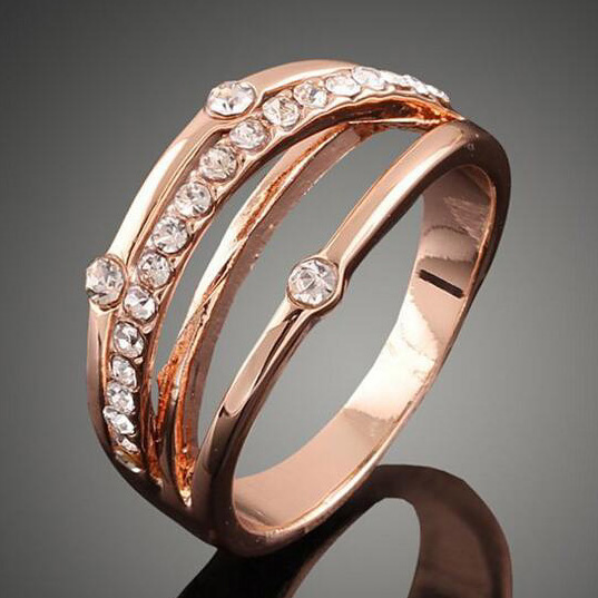 Female Crystal Zircon Ring Rose Gold Ring Promise Wedding Engagement Rings For Women Gif ...