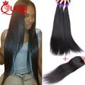 3 pcs Brazilian Virgin Hair Straight With Closure Human Hair Weave With Closure 3 Bundles Brazilian Straight Hair With Closure