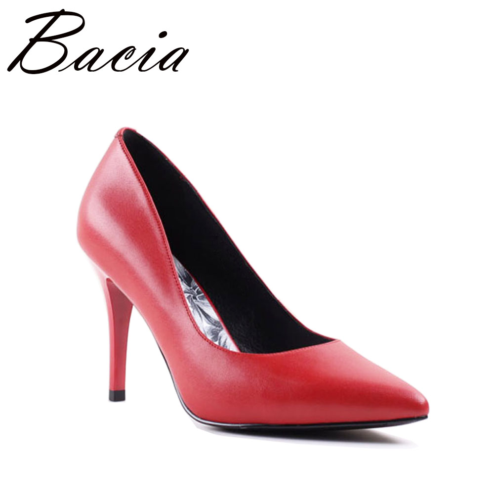 Bacia RED HEELS Sheep Skin 9.4cm High Thin Heel For Women Pointed Toe Pumps Ladies Elegant Fashion Party Shoes Size 35-41 SA046
