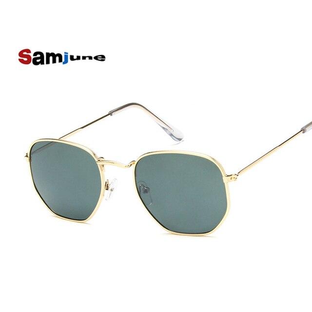 49892e91ca Samjune Men Hexagonal Flat Lenses Aviation Sunglasses Brand Designer New  Vintage Women Pink Mirror Driving Sun