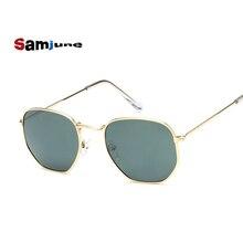 Samjune Men Hexagonal Flat Lenses Aviation Sunglasses Brand Designer New Vintage