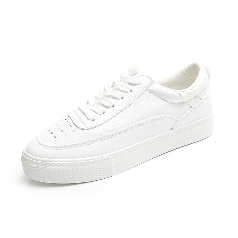 HUANQIU 2018 Women White Shoes Leather Casual Shoes Solid Color Preppy Style Student Shoes Fashion Sneakers All Match Size 35-39 fashion boutique huanqiu fashion women canvas shoes low breathable women sneakers solid color flat shoes casual candy colors l