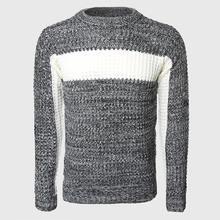 Мужской толстый свитер в стиле пэчворк вязаный пуловер с цветными