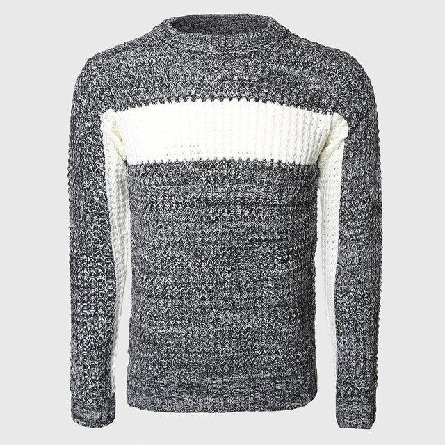 Homens Grosso Patchwork Blusas Cabo Masculino Pullovers de Malha Mais Quente Bloco de Cor Fina Camisola O Pescoço Coreano Elegante Padrão