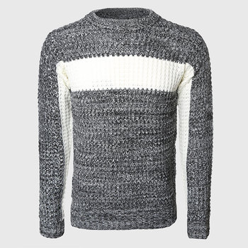 Men Thick Patchwork Sweaters Male Cable Knit Pullovers Warmer Color Block Slim Sweater O Neck Korean Stylish Pattern o ring zip up color block sweater