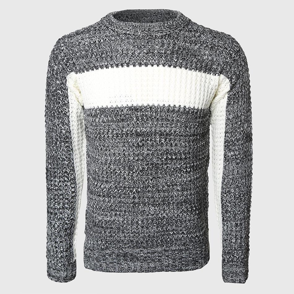Uomini Di Spessore Maglioni Patchwork Maschio Cable Knit Pullover Più Caldo Color Block Slim O Collo Maglione Coreano Moda Modello