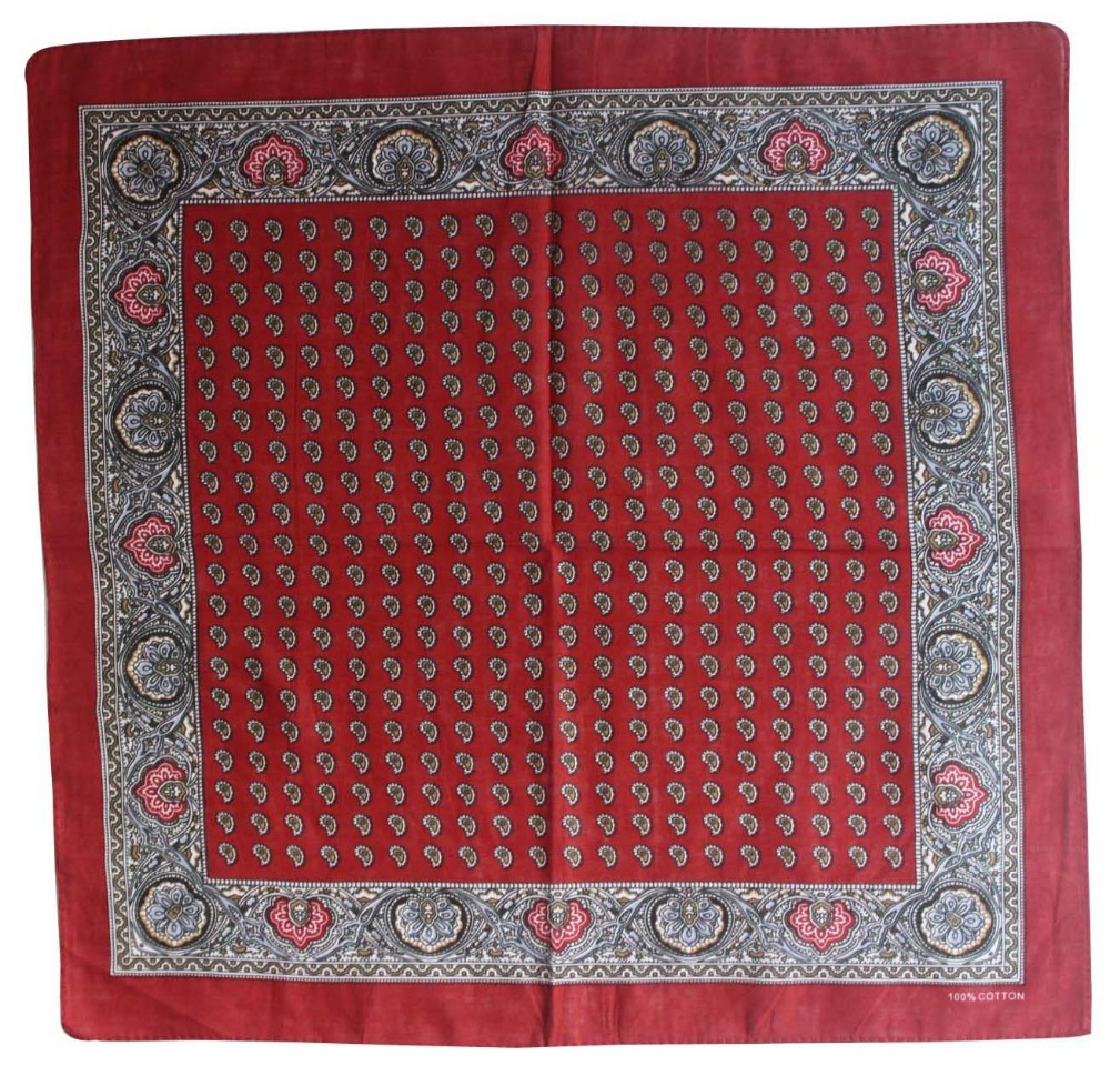 2018 New Hot Sale 100% Cotton Burgundy Paisley Bandana For Women Men