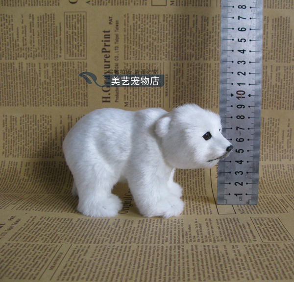 Mini Cute Simulation Polar Bear Toy Handicraft Imitate Small Polar