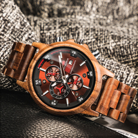 Wooden Watches Fashion Big Size Men Watch Wood Luxury Chronograph Wristwatch Quality Quartz Movement Calendar Relogio Masculino