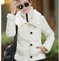 Горячая распродажа новинка зимы женщин хлопка утолщение меховой воротник теплые куртки элегантный тонкий большой размер дамы полупальто G1856