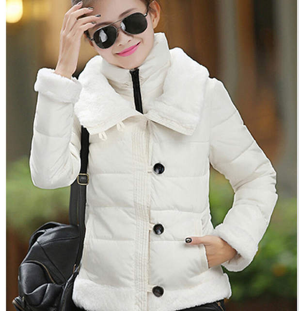 hot sale New Fashion Women Winter Cotton Jacket Thickening Fur collar Warm Coats Elegant Slim Large size Ladies Short Coat G1856