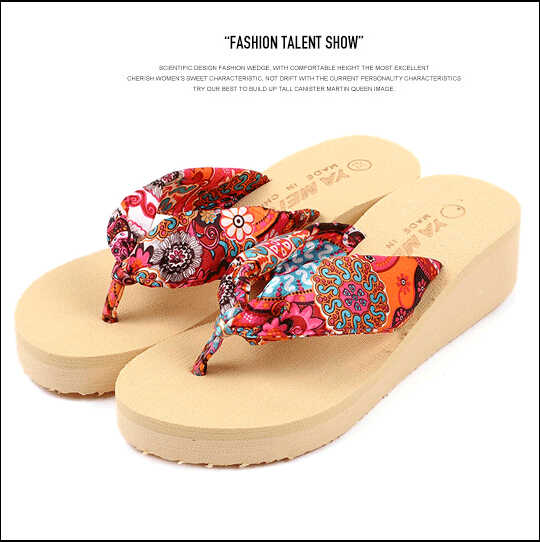 5c6bab8c441793 2017 Summer bohemia flower Women flip flops platform wedges women sandals  platform flip slippers beach shoes