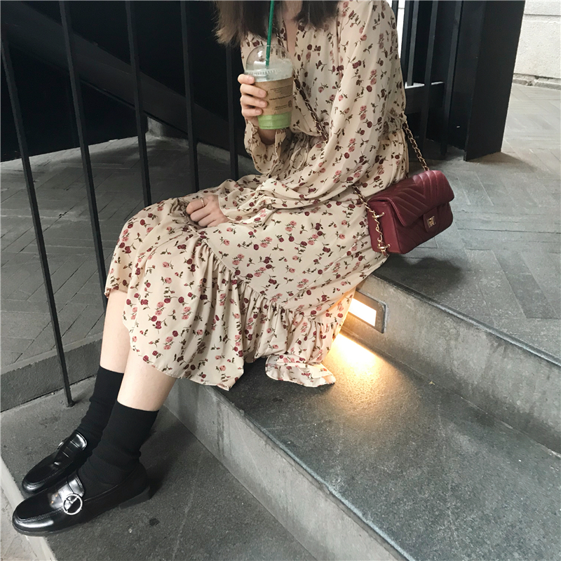 Autumn Dress 2018 Women Floral Print Loose V Neck Long Dress Casual  Long Sleeve Dress Womens (k681)