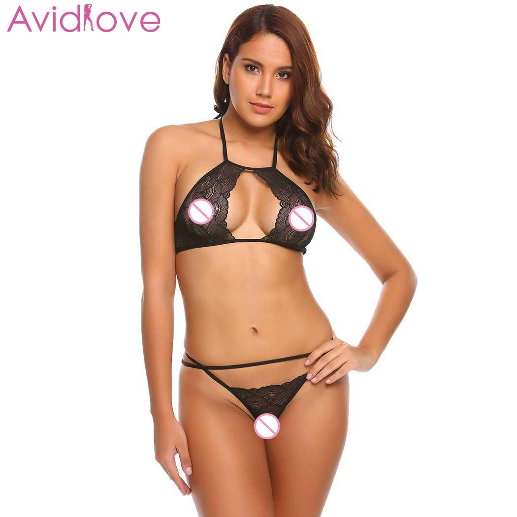 Avidlove Women Sexy Lingerie Set <font><b>Sex</b></font> Shop Transparent <font><b>Bikini</b></font> Exotic Bodysuit Lace No Padded Wire Free Strap Lingerie Spaghetti image