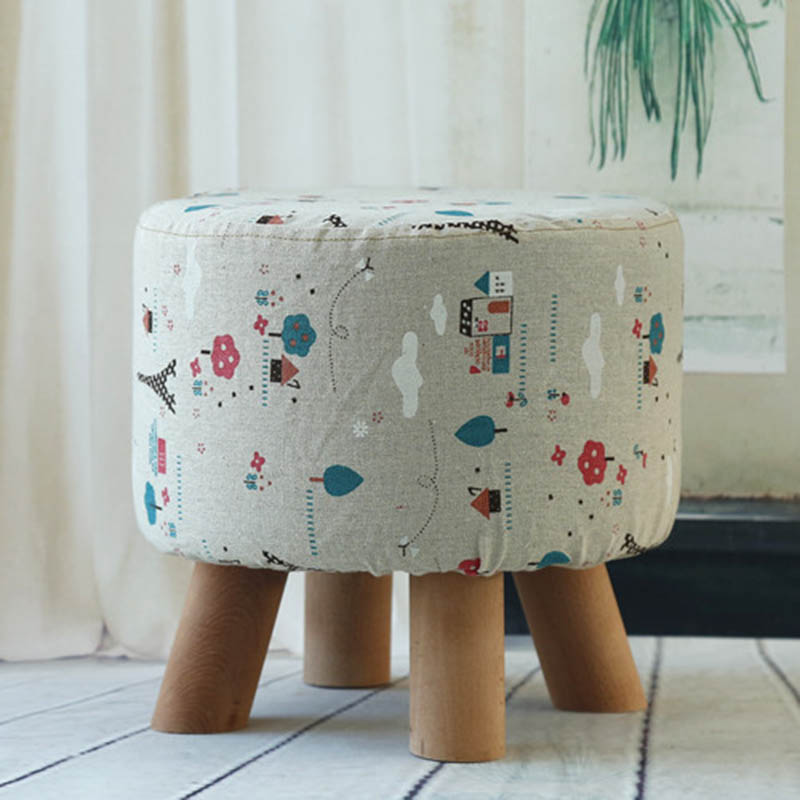 Low Removable washable fabric pine sofa stool round stool solid wood detachable cloth sets Ottoman Home Furniture 28*28cm wooden furniture fashion shoes stool wood ottoman stool dressing minimalist pure cotton fabric sofa wood furniture wait stool