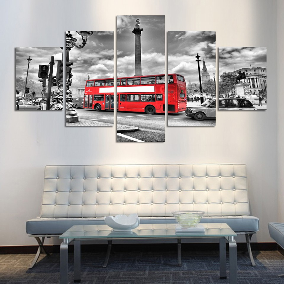 Embelish City Scenery Red Bus Modern Wall Art Posters HD Print Canvas Modular Painting For Living Room Home Decor Picture Framed