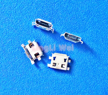 100Pcs Micro USB Jack Connector Type B Female 5Pin Tail Board 0.8mm Type Solder Socket Connectors Charging Socket for PCB Board