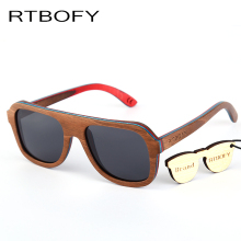 RTBOFY 2017 New Brand Designer Men Sunglasses New Polarized Blue Skateboard Wood sunGlasses Original Box Retro Eyewear