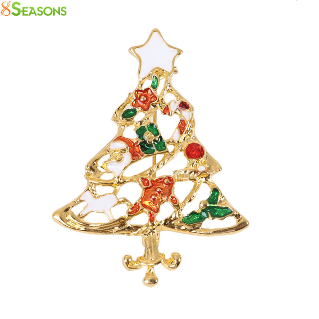 8SEASONS Pin Brooches Christmas Wreath Tree Jingle Bell Santa Claus Gold Color Red & Green Enamel , 1 Piece