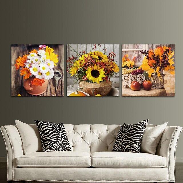 3 Панели Unframed холст печатает фото чай с лимоном стены искусства картина холст картины настенные украшения Работа модульные картины