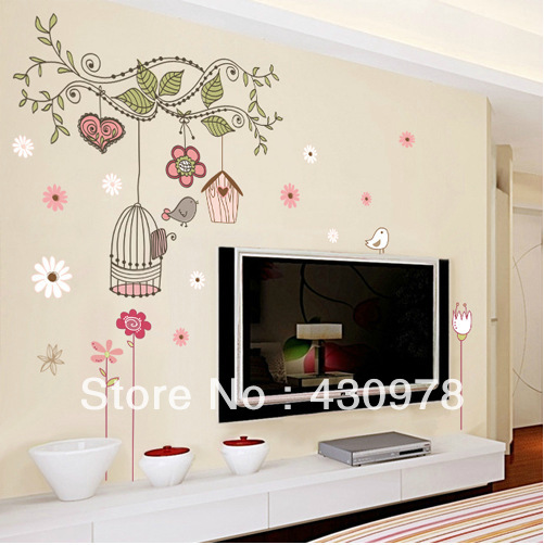 QZ015 Free Shipping 1Pcs Cute Bird Cage Wood House Flower Leaf Removable PVC Wall Stickers <font><b>Elegant</b></font> Fancy <font><b>Home</b></font> <font><b>Decoration</b></font> Gift