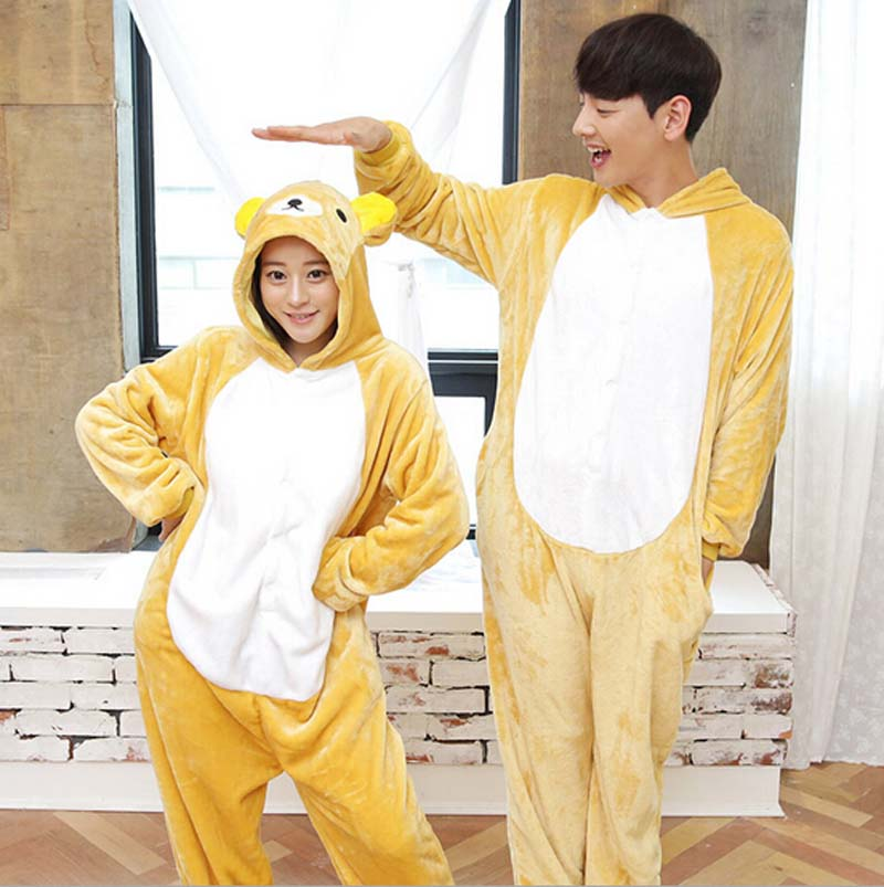Fashion Bear Animal Flannel Pajamas One Piece Cartoon Costume Sleepwear Unisex For Adult ...