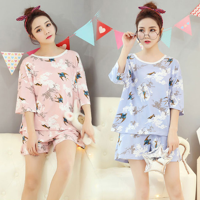 Fashion Women 2018 Summer NightWear Leisure Home Cloth Short Sleeve Thin Polyester Pajamas Sets Women Girl Sleepwear Set