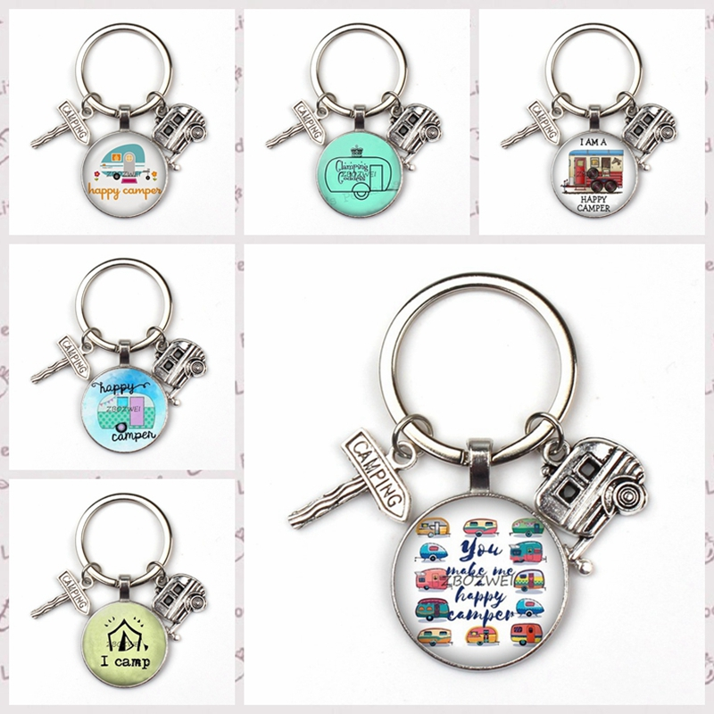 2019 New Cute Trailer Street Sign Key Ring Camper Car Pattern Key Chain Children Car Charm Bag Men Women Jewelry Favorite Gift