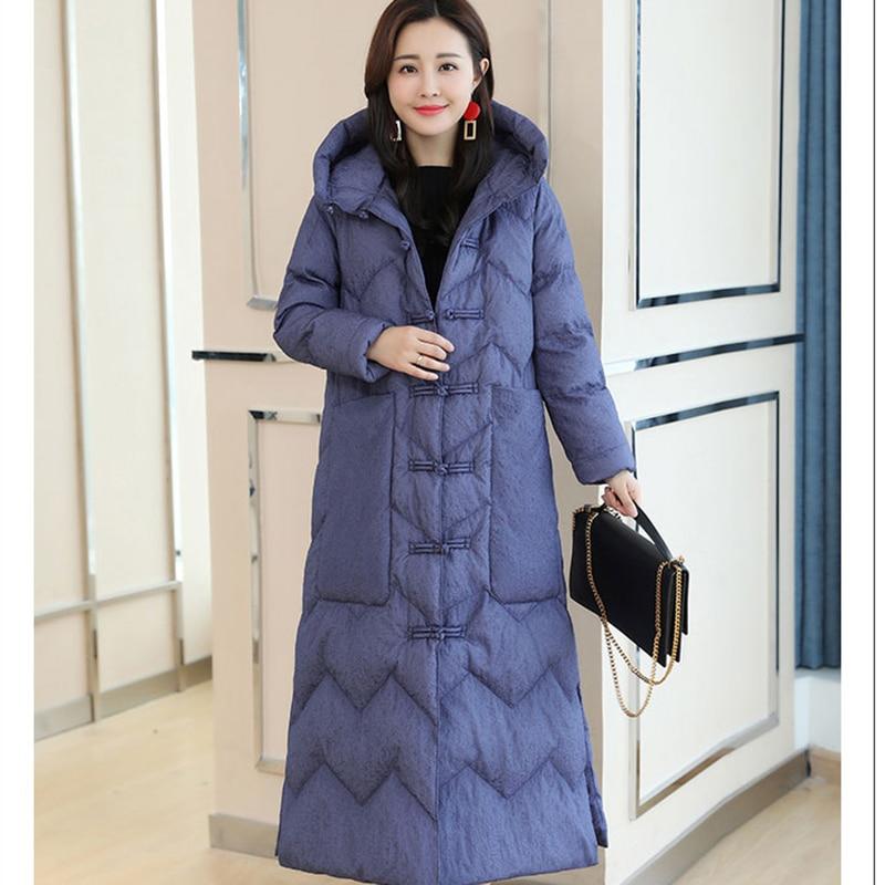 Nouveau Red Blue Vent D'hiver Lq019 2018 Capuche Femmes National Coton Longue Unique Manteau Chaud À Plus Veste jujube Mode De black Épais dreasted BAHExwH