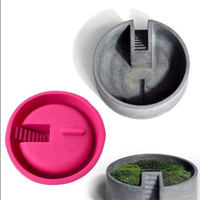 3D Handmade Concrete Mold New Style Succulent Flower Pot Vase Round Ladder Clay Craft Casting Silicone Mold For Plaster