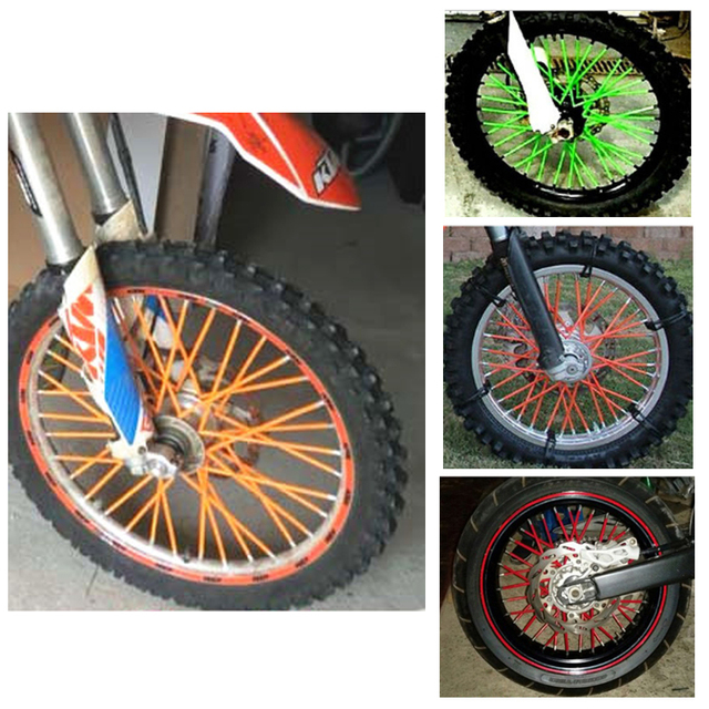 Us 5 73 18 Off Motocross Dirt Bike Enduro Wheel Rim Spoke Skins Covers For Honda Suzuki Yamaha Ktm Kawasaki 125 250 Mt07 R3 150 Z800 Yzf R1 R6 In