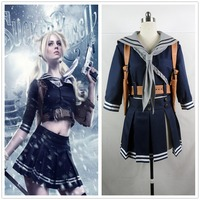Movie Sucker Punch Cosplay Costume Baby Doll Set Outfit Cosplay Jacket+Skirt+Belt+Scarf+Holder Halloween Party Full Set